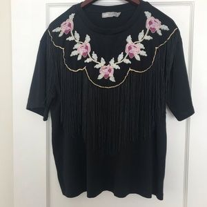 Fringed, embroidered western look t-shirt